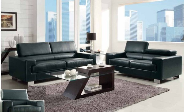 Vernon Contemporary Metal Black Bonded Leather 3pc Living Room Set HE-9603-LR-SBK