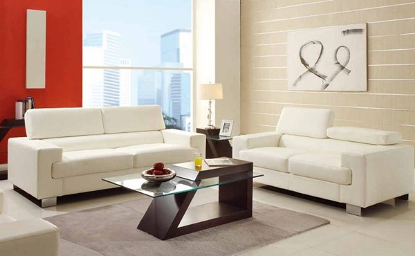 Vernon Contemporary Metal Black White Bonded Leather Living Room Set HE-9603-LR