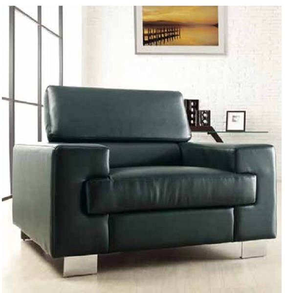 Vernon Contemporary Metal Black White Bonded Leather Chairs HE-9603-1-LR