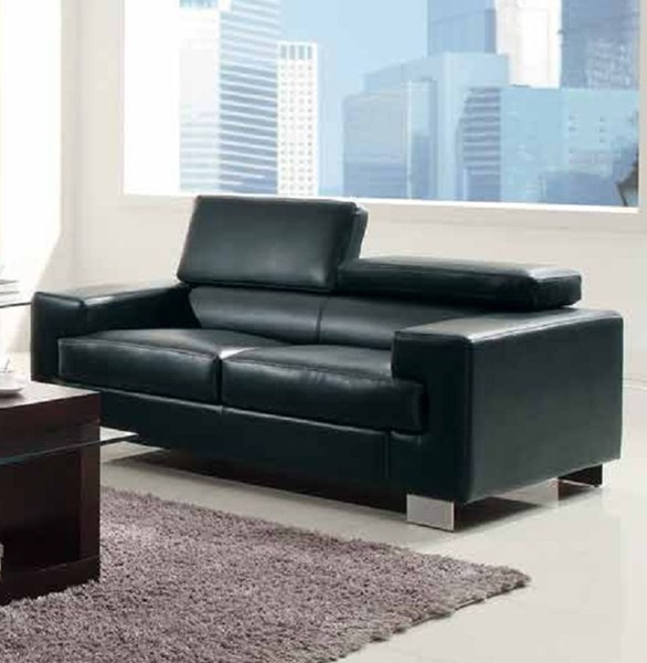 Vernon Contemporary Metal Black White Bonded Leather Loveseats HE-9603-2-LR