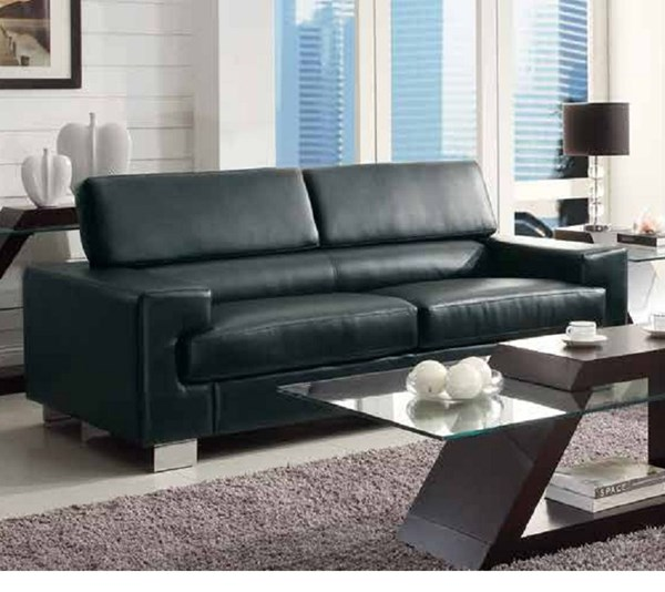 Vernon Contemporary Metal Black Bonded Leather Sofa HE-9603BLK-3