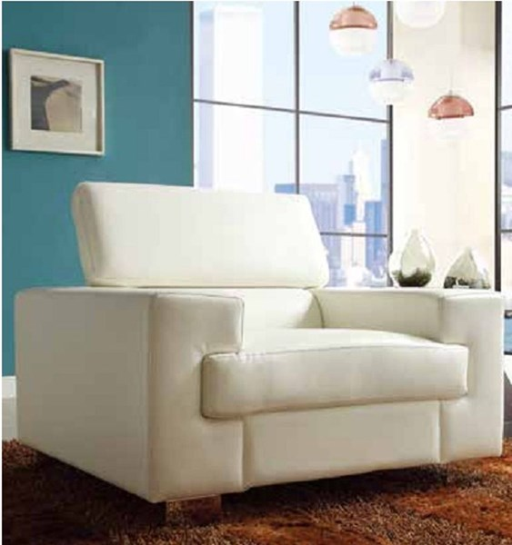 Vernon Contemporary Metal White Bonded Leather Chair HE-9603WHT-1