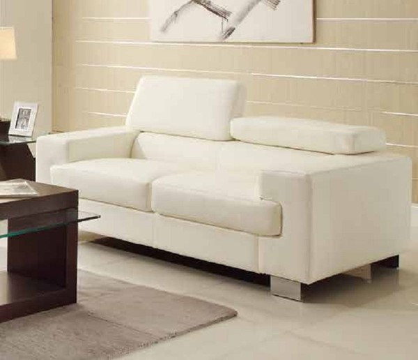 Vernon Contemporary Metal White Bonded Leather Loveseat HE-9603WHT-2