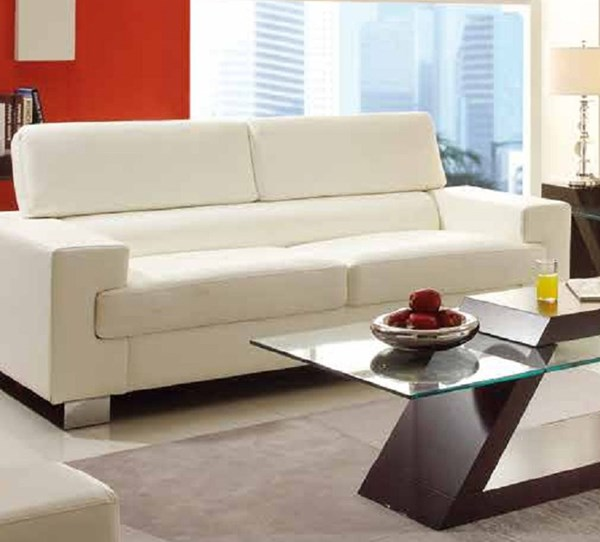 Vernon Contemporary Metal White Bonded Leather Sofa HE-9603WHT-3