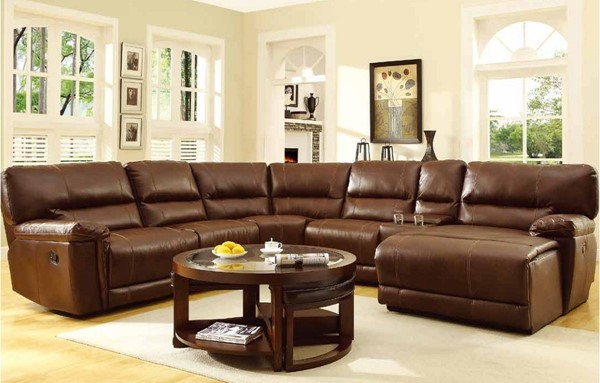 Blythe Brown Bonded Leather Cushions Corner Seat HE-9606-CR