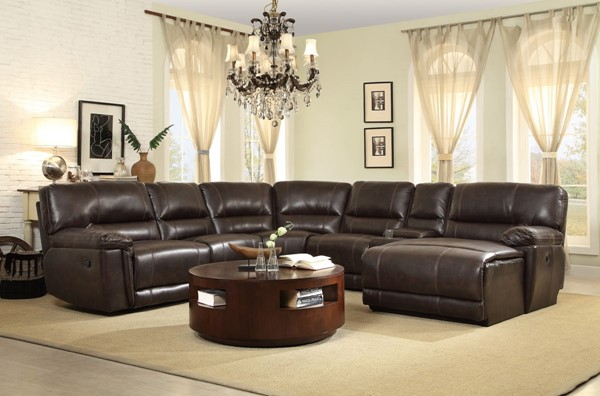 Home Elegance Blythe Dark Brown 5pc Sectional HE-9606AH-5AC