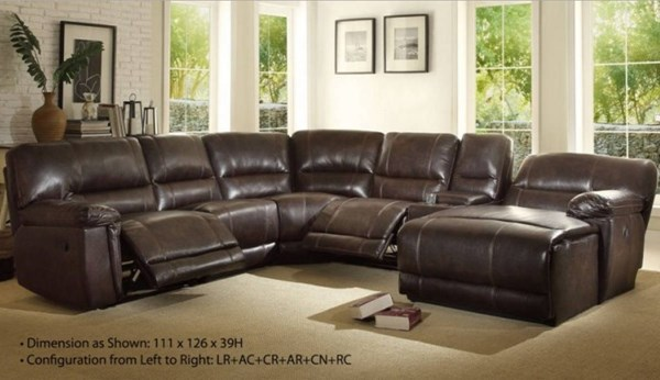 Blythe II Casual Dark Brown Faux Leather Sectional w/Corner Seat HE-9606AH