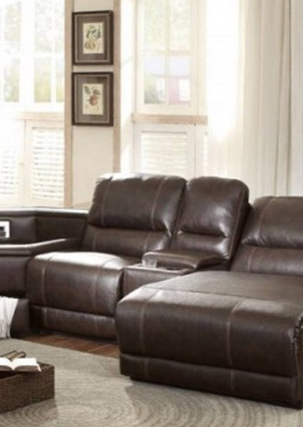 Blythe II Casual Dark Brown Faux Leather Power Armless Reclining Chair HE-9606AH-ARPW