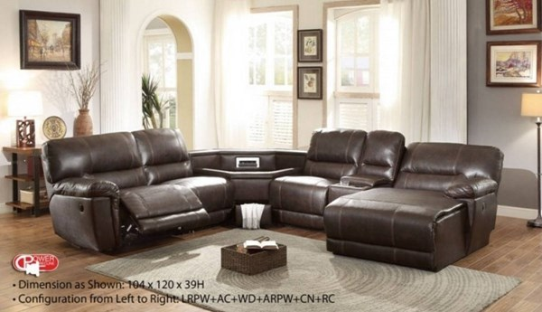 Blythe II Casual Dark Brown Faux Leather Sectionals HE-9606AH-SEC