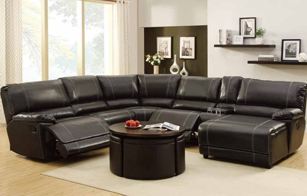 Cale Black Bonded Leather Wood Corner Seat HE-9608-CR