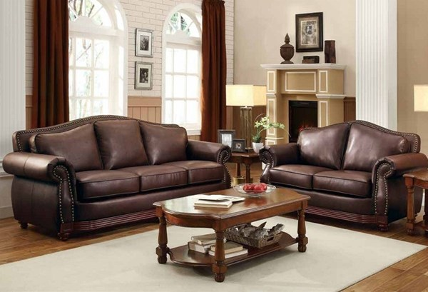 Midwood Traditional Dark brown Wood Bonded Leather 3pc Living Room Set HE-9616-LR-S