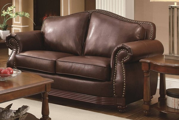 Midwood Traditional Dark brown Wood Bonded Leather Loveseat HE-9616BRW-2
