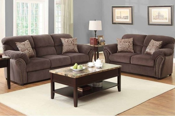 Valentina Traditional Chocolate Brown Wood Microfiber Living Room Sets HE-9619-LR-S