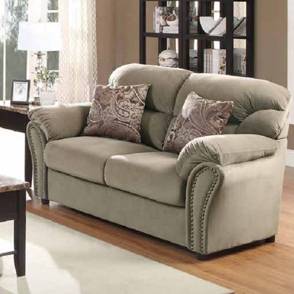 Valentina Traditional Chocolate Brown Wood Microfiber Loveseats HE-9619-2