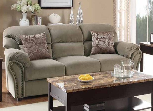 Valentina Traditional Brown Wood Microfiber Sofa HE-9619BR-3