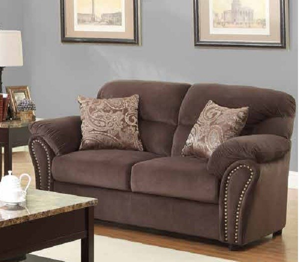 Valentina Traditional Chocolate Wood Microfiber Loveseat HE-9619CH-2