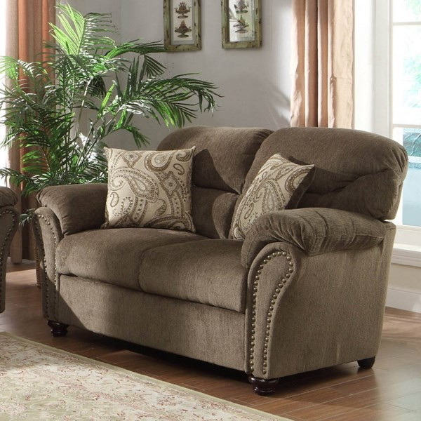 Valentina Traditional Neutral Chenille Microfiber Loveseat HE-9619NF-2