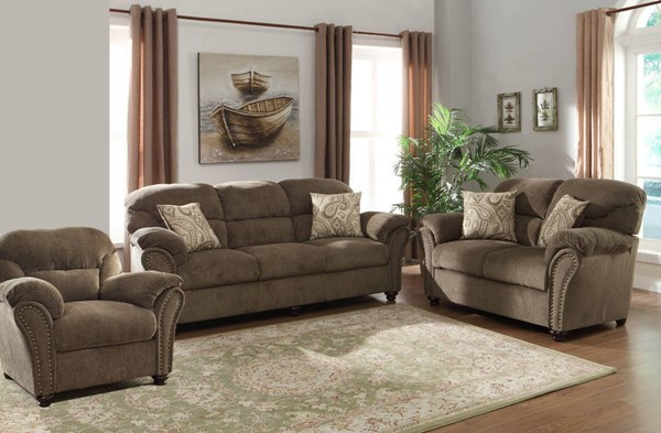 Valentina Traditional Neutral Chenille Microfiber 3pc Living Room Set HE-9619NF-LR-S1