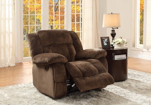 Laurelton Taupe Charcoal Fabric Polyester Glider Reclining Chairs HE-9636-REC-VAR