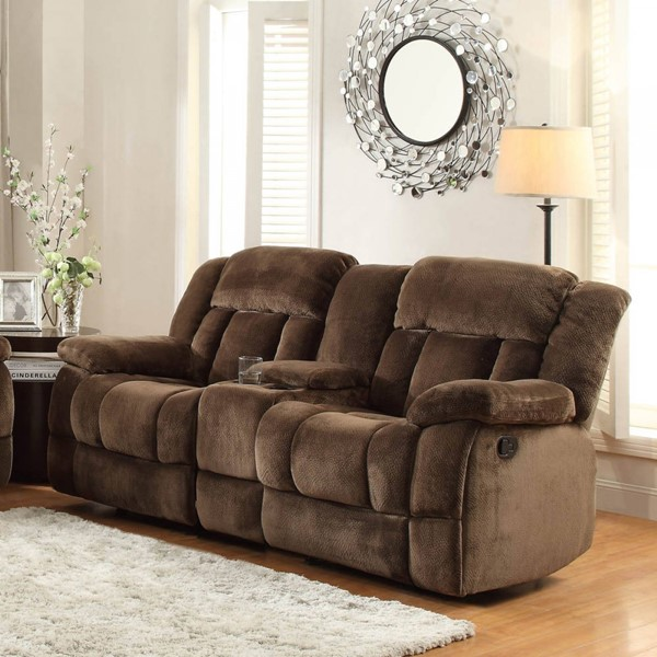 Laurelton Chocolate Fabric Double Glider Reclining Loveseat w/Console HE-9636-2