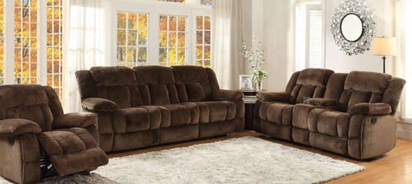 Laurelton Taupe Charcoal Fabric Polyester 3pc Living Room Set HE-9636-LR-VAR