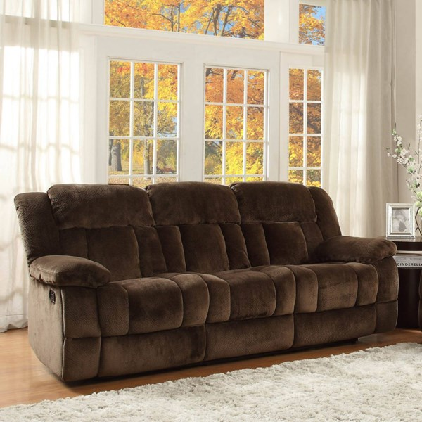Laurelton Taupe Charcoal Fabric Polyester Double Reclining Sofas HE-9636-SF-VAR