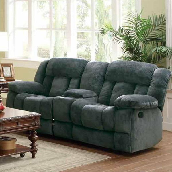 Laurelton Charcoal Fabric Double Glider Reclining Love Seat w/Console HE-9636CC-2