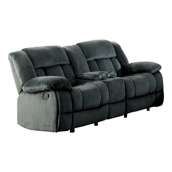 Home Elegance Laurelton Charcoal Double Glider Reclining Loveseat with Console HE-9636CC-2
