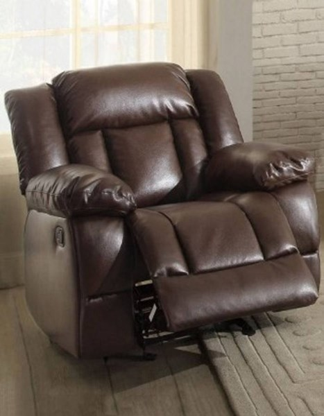 Laurelton Dark Brown Bonded Leather Glider Reclining Chair HE-9636DB-1