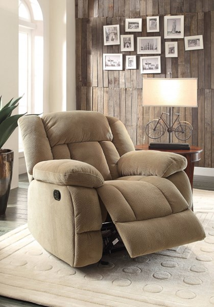 Laurelton Taupe Fabric Glider Reclining Chair HE-9636NF-1