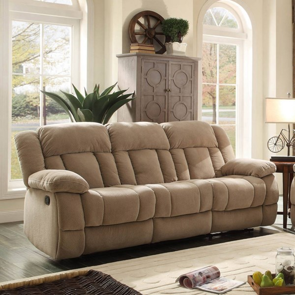 Laurelton Taupe Fabric Double Reclining Sofa HE-9636NF-3