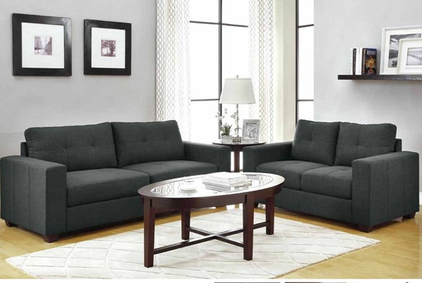 Ashmont Classic Dark Grey Fabric 3pc Living Room Set HE-9639-LR-S