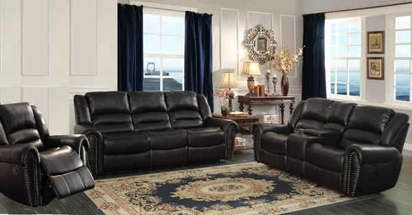 Center Hill Traditional Black Bonded Leather Living Room Set HE-9668-LR