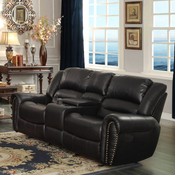 Center Hill Black Bonded Leather Double Glider Reclining Love Seat HE-9668BLK-2