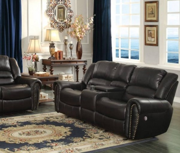 Center Hill Black Faux Leather Power Double Reclining Loveseat HE-9668BLK-2PW