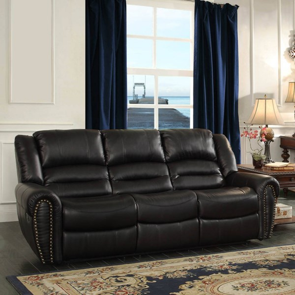 Center Hill Traditional Bonded Leather Double Reclining Sofa HE-9668-SF-VAR