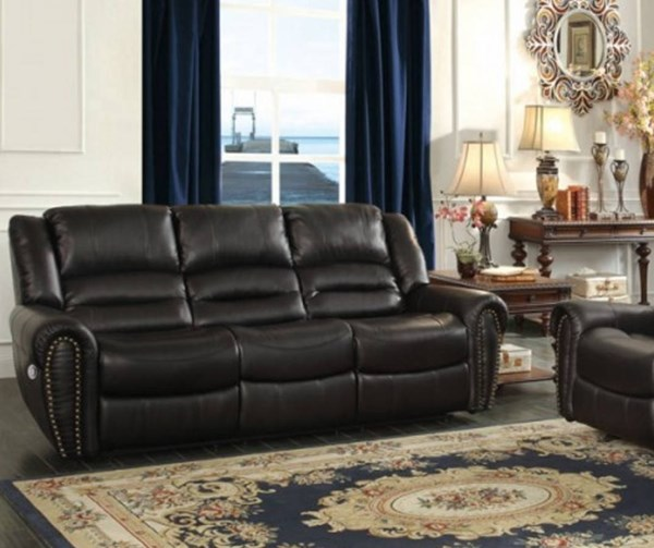 Center Hill Traditional Bonded Leather Power Double Reclining Sofa HE-9668-PW-SF-VAR