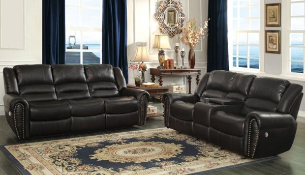 Center Hill Traditional Black Faux Leather 3pc Living Room Set HE-9668-PW-LR-S1