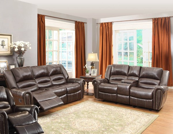Center Hill Traditional Dark Brown Faux Leather 3pc Living Room Set HE-9668-LR-S2