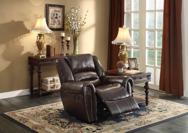 Center Hill Dark Brown Bonded Leather Glider Reclining Chair HE-9668BRW-1