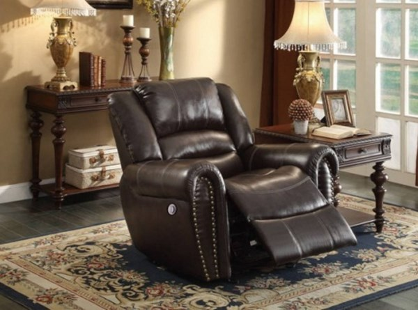 Center Hill Dark Brown Bonded Leather Power Reclining Chair HE-9668BRW-1PW