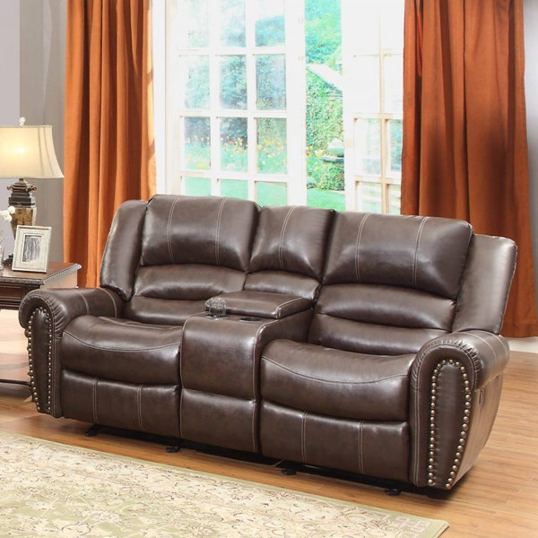 Center Hill Bonded Leather Double Glider Reclining Loveseat w/Console HE-9668BRW-2
