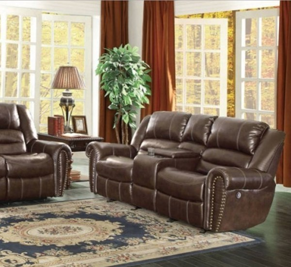Center Hill Bonded Leather Power Double Reclining Loveseat w/Console HE-9668BRW-2PW