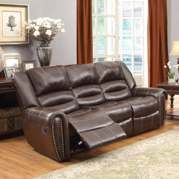Center Hill Dark Brown Bonded Leather Double Reclining Sofa HE-9668BRW-3