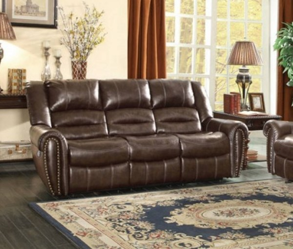 Center Hill Dark Brown Bonded Leather Power Double Reclining Sofa HE-9668BRW-3PW