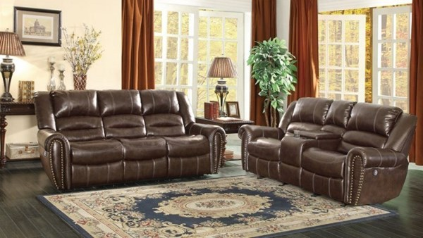 Center Hill Traditional Dark Brown Bonded Leather 3pc Living Room Set HE-9668-PW-LR-S2