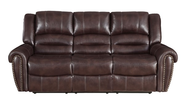 Home Elegance Center Hill Brown Saddle Reclining Sofas HE-9668N-SF-VAR