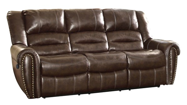 Home Elegance Center Hill Brown Double Reclining Sofa HE-9668BRW-3