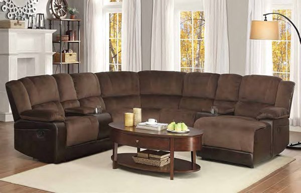 Hankins Chocolate Fabric Vinyl Left Side Reclining Loveseat w/Console HE-9669FCP-LL