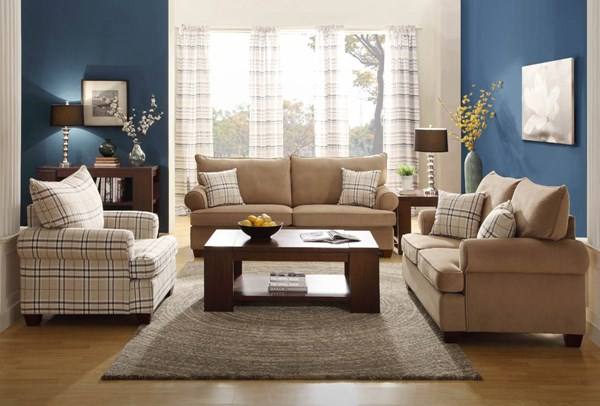Talullah Transitional Brown Microfiber 3pc Living Room Set HE-9679-LR-S1